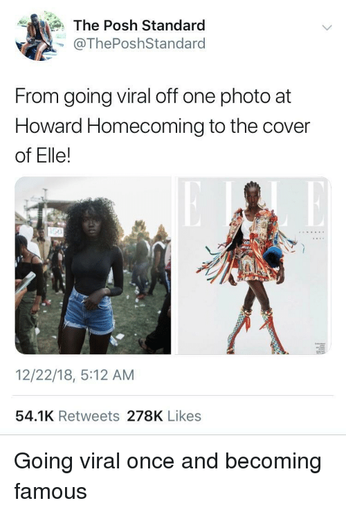 posh: The Posh Standard  @ThePoshStandard  From going viral off one photo at  Howard Homecoming to the cover  of Elle!  12/22/18, 5:12 AM  54.1K Retweets 278K Likes Going viral once and becoming famous