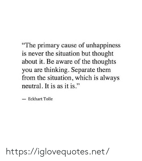 """Primary: """"The primary cause of unhappiness  is never the situation but thought  about it. Be aware of the thoughts  you are thinking. Separate them  from the situation, which is always  neutral. It is as it is.""""  Eckhart Tolle https://iglovequotes.net/"""