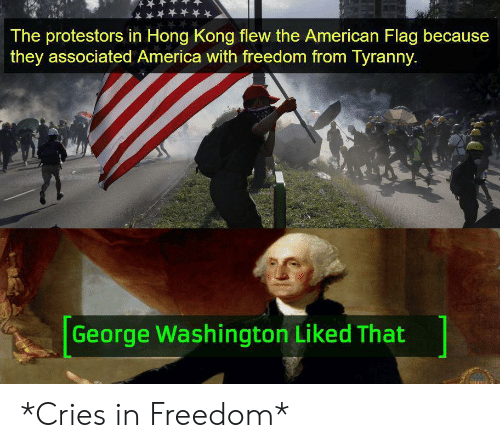 American Flag: The protestors in Hong Kong flew the American Flag because  they associated America with freedom from Tyranny.  George Washington Liked That *Cries in Freedom*