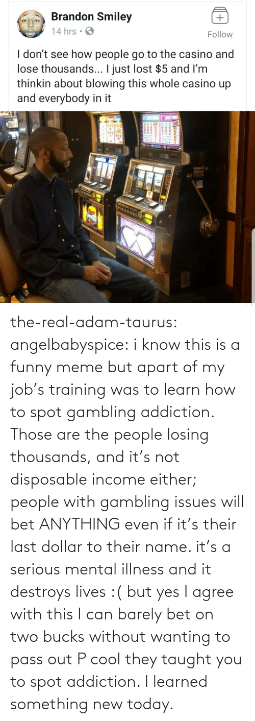 funny meme: the-real-adam-taurus:  angelbabyspice:  i know this is a funny meme but apart of my job's training was to learn how to spot gambling addiction. Those are the people losing thousands, and it's not disposable income either; people with gambling issues will bet ANYTHING even if it's their last dollar to their name. it's a serious mental illness and it destroys lives :( but yes I agree with this I can barely bet on two bucks without wanting to pass out    P cool they taught you to spot addiction. I learned something new today.