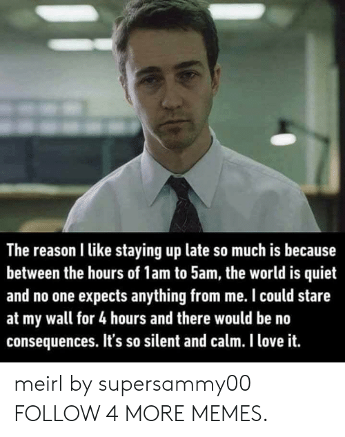 no consequences: The reason I like staying up late so much is because  between the hours of 1am to 5am, the world is quiet  and no one expects anything from me. I could stare  at my wall for 4 hours and there would be no  consequences. It's so silent and calm. I love it. meirl by supersammy00 FOLLOW 4 MORE MEMES.
