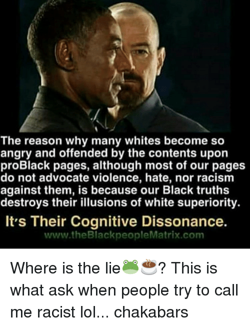 dissonance: The reason why many whites become so  angry and offended by the contents upon  proBlack pages, although most of our pages  do not advocate violence, hate, nor racism  against them, is because our Black truths  destroys their illusions of white superiority.  It's Their Cognitive Dissonance.  www.theBlackpeople Matrix com Where is the lie🐸☕️? This is what ask when people try to call me racist lol... chakabars