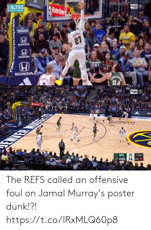 Poster: The REFS called an offensive foul on Jamal Murray's poster dunk!?!  https://t.co/lRxMLQ60p8