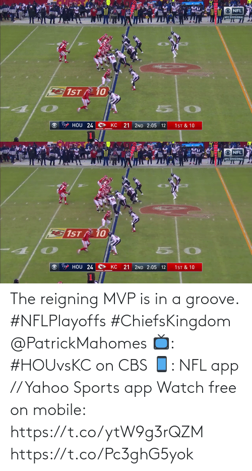 mvp: The reigning MVP is in a groove. #NFLPlayoffs #ChiefsKingdom @PatrickMahomes  📺: #HOUvsKC on CBS 📱: NFL app // Yahoo Sports app Watch free on mobile: https://t.co/ytW9g3rQZM https://t.co/Pc3ghG5yok