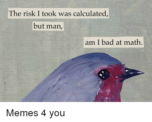 But Man Am I Bad At Math: The risk I took was calculated,  but man,  am I bad at math, Memes 4 you