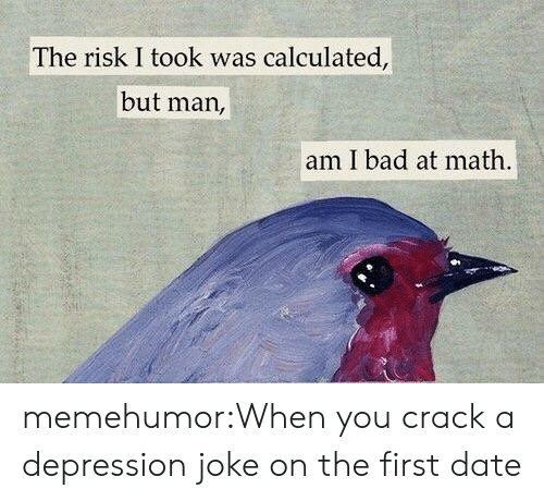 Bad At Math: The risk I took was calculated,  but man,  am I bad at math memehumor:When you crack a depression joke on the first date