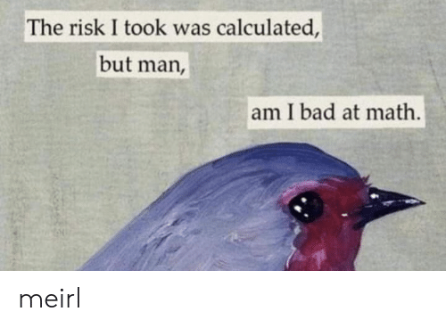 Bad At Math: The risk I took was calculated,  but man,  am I bad at math. meirl