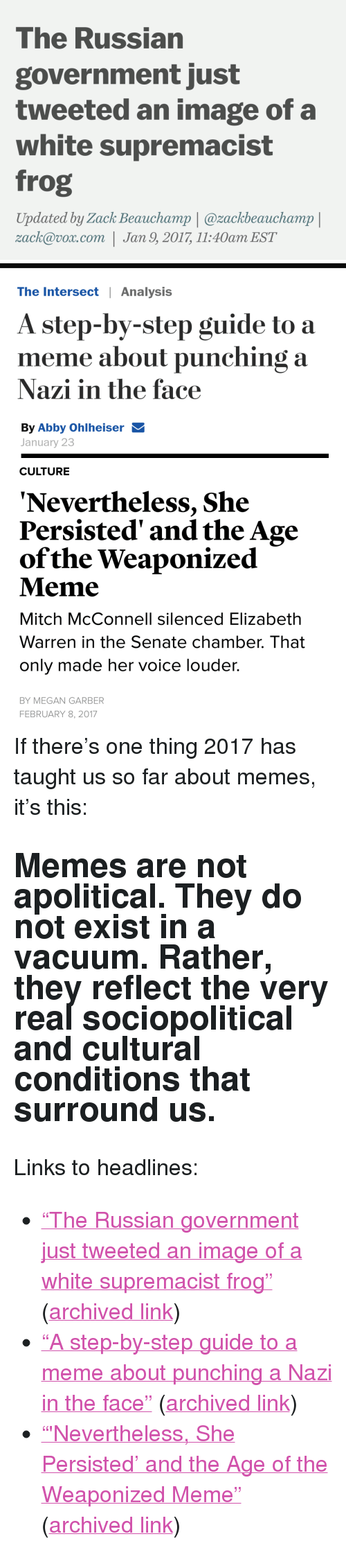 """Elizabeth Warren, Megan, and Meme: The Russian  government just  tweeted an image of a  white supremacist  frog  Updated by Zack Beauchamp 