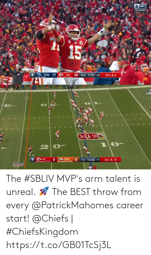 career: The #SBLIV MVP's arm talent is unreal. 🚀  The BEST throw from every @PatrickMahomes career start!  @Chiefs | #ChiefsKingdom https://t.co/GB01TcSj3L