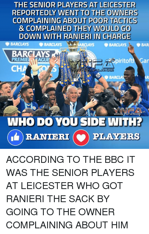 Memes, Barclays, and According: THE SENIOR PLAYERS AT LEICESTER  REPORTEDLY WENT TO THE OWNERS  COMPLAINING ABOUT POOR TACTICS  & COMPLAINED THEY WOULD GO  DOWN WITH RANIERI IN CHARGE  BARCLAYS  ARCLAYS BARCLAYS, BAR  BARCLAYS  PREMIE  AGUE  iritoftM Gar  CH  WHO DO YOU SIDE WITH?  RANIERI (v) PLAYERS ACCORDING TO THE BBC IT WAS THE SENIOR PLAYERS AT LEICESTER WHO GOT RANIERI THE SACK BY GOING TO THE OWNER COMPLAINING ABOUT HIM