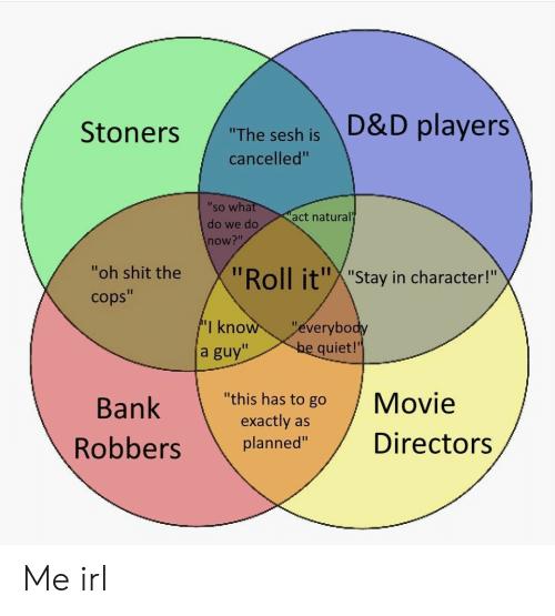 "in character: ""The sesh is D&D players  cancelled""  'so wha  do we do  now?""  act natural  ""oh shit the  cops""  oll it""X""Stay in character!""  I kno  a guy""  everybo  quiet!'  Bank  ""this has to go Movie  exactly as  planned""Directors Me irl"