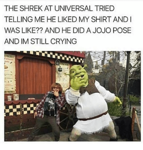 andie: THE SHREK AT UNIVERSAL TRIED  TELLING ME HE LIKED MY SHIRT ANDI  WAS LIKE?? AND HE DID A JOJO POSE  AND IM STILL CRYING