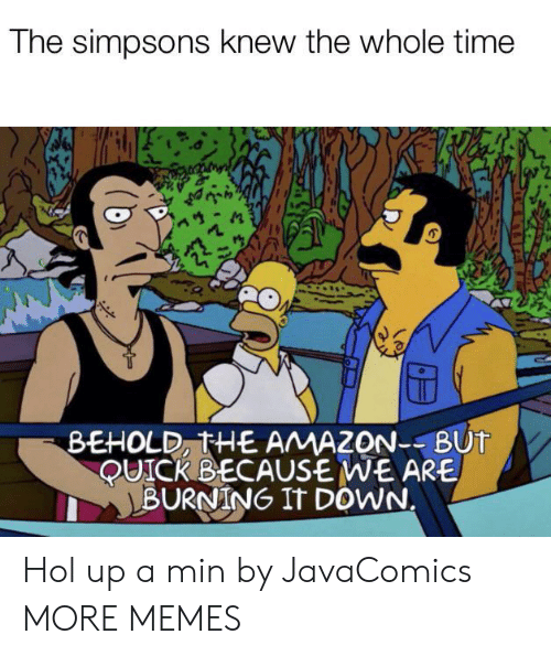 the whole time: The simpsons knew the whole time  BEHOLD, THE AMAZON--BUT  QUICK BECAUSE WE ARE  BURNING IT DOWN. Hol up a min by JavaComics MORE MEMES