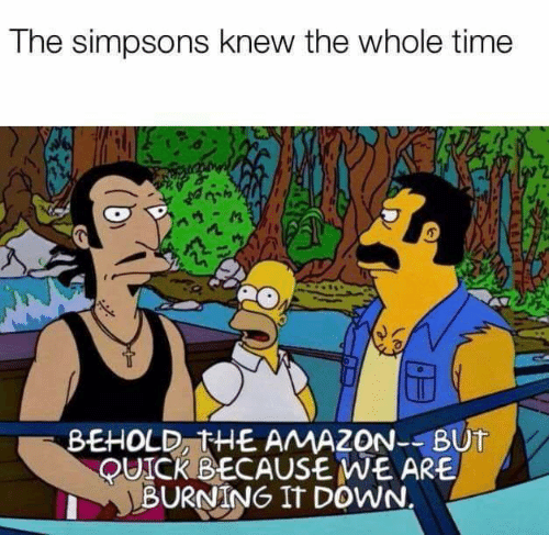 the whole time: The simpsons knew the whole time  BEHOLD, THE AMAZON--BUT  QUICKBECAUSE WE ARE  BURNING IT DOWN.