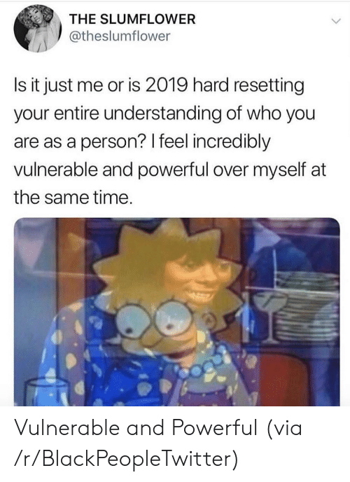 Blackpeopletwitter, Time, and Powerful: THE SLUMFLOWER  @theslumflower  Is it just me or is 2019 hard resetting  your entire understanding of who you  are as a person? I feel incredibly  vulnerable and powerful over myself at  the same time Vulnerable and Powerful (via /r/BlackPeopleTwitter)