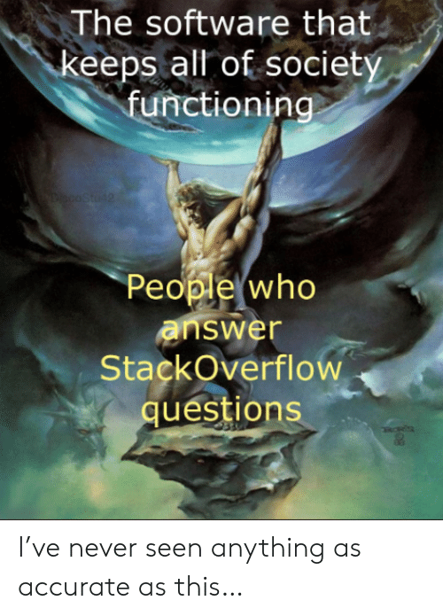 Never, Software, and Answer: The software that  keeps all of society  functioning  YDiscoStu42  People who  answer  StackOverflow  questions I've never seen anything as accurate as this…