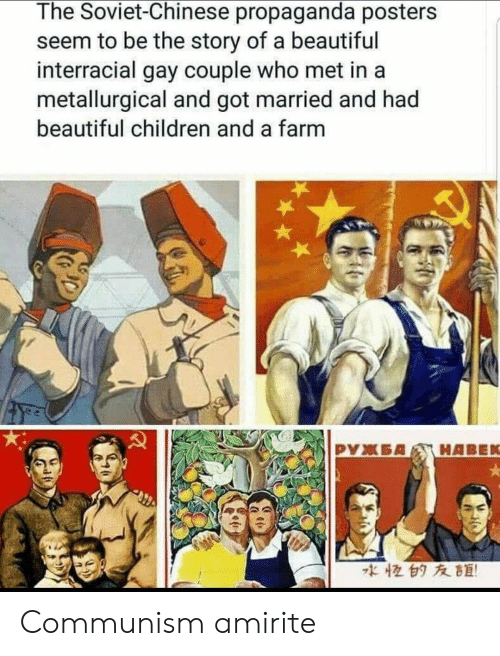 posters: The Soviet-Chinese propaganda posters  seem to be the story of a beautiful  interracial gay couple who met in a  metallurgical and got married and had  beautiful children and a farm  な恒白タ友距! Communism amirite