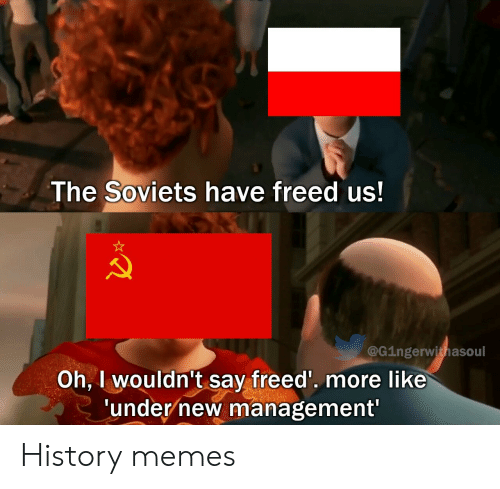 History: The Soviets have freed us!  @G1ngerwithasoul  Oh, I wouldn't say freed'. more like  'under new management' History memes