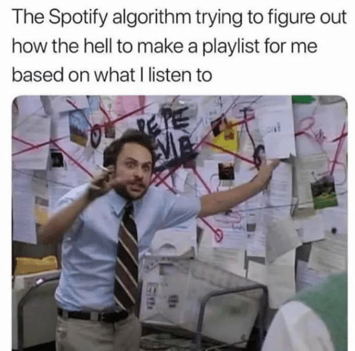 The Hell: The Spotify algorithm trying to figure out  how the hell to make a playlist for me  based on what I listen to  SEN
