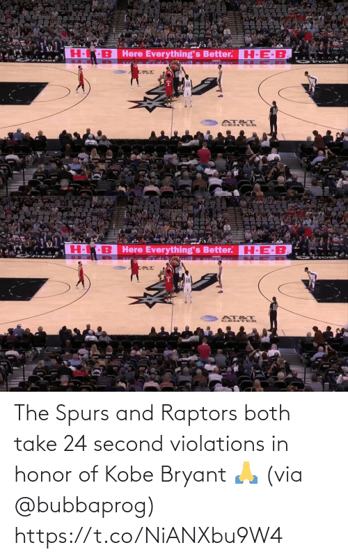Spurs: The Spurs and Raptors both take 24 second violations in honor of Kobe Bryant 🙏 (via @bubbaprog) https://t.co/NiANXbu9W4