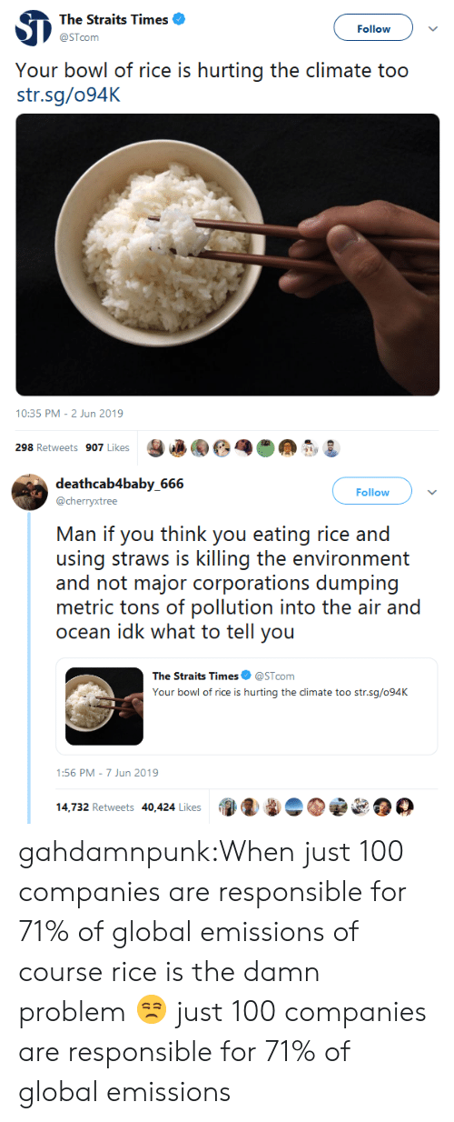 Tumblr, Blog, and Ocean: The Straits Times  Follow  @STcom  Your bowl of rice is hurting the climate too  str.sg/094K  10:35 PM - 2 Jun 2019  298 Retweets 907 Likes   deathcab4baby_666  Follow  @cherryxtree  Man if you think you eating rice and  using straws is killing the environment  and not major corporations dumping  metric tons of pollution into the air and  ocean idk what to tell you  The Straits Times  @STcom  Your bowl of rice is hurting the climate too str.sg/094K  1:56 PM 7 Jun 2019  14,732 Retweets 40,424 Likes gahdamnpunk:When just 100 companies are responsible for 71% of global emissions of course rice is the damn problem 😒 just 100 companies are responsible for 71% of global emissions