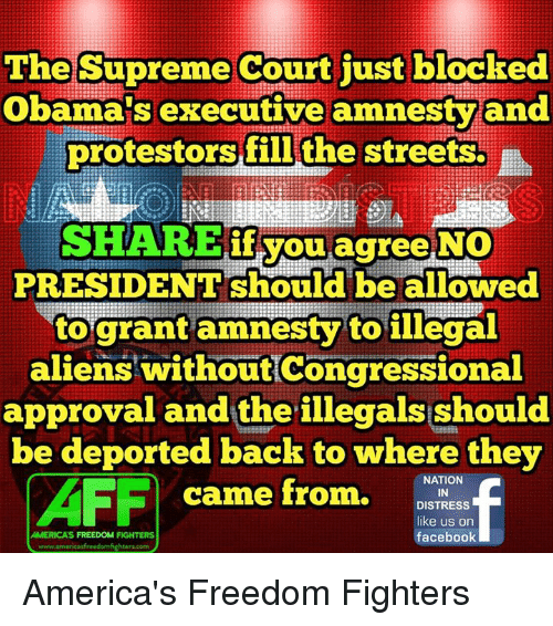 Memes, Streets, and Supreme: The Supreme Court just blocked  Obama's executive amnesty and  protestors fil the  streets.  SHARE if you agree NO  PRESIDENT be allowed  to grant amnesty to illegal  aliens without Congressional  approval and the illegals should  be deported back to where they  NATION  AFF  came from.  AMERICAS FREEDOM FIGHTERS  DISTRESS  like us on  facebook  www.americasfreedomfighters com America's Freedom Fighters
