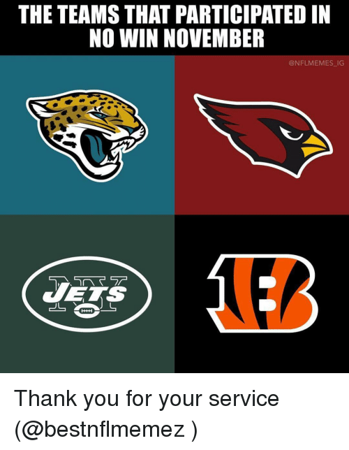 Tets: THE TEAMS THAT PARTICIPATED IN  NO WIN NOVEMBER  @NFLMEMES IG  へマテ  TETS Thank you for your service (@bestnflmemez )