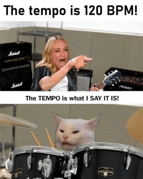 Say It, Bpm, and Tempo: The tempo is 120 BPM!  Matehall  @bandmemes666  The TEMPO is what I SAY IT IS!