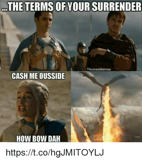 How, Bow, and Cash: THE TERMS OF YOUR SURRENDER  ThronesMemes  CASH ME OUSSIDE  HOW BOW DAH https://t.co/hgJMITOYLJ