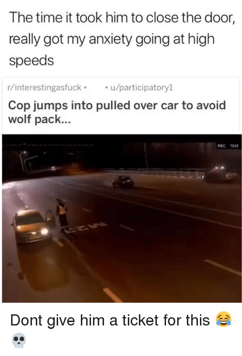 Close The Door: The time it took him to close the door  really got my anxiety going at high  speeds  r/interestingasfucku/participatoryl  Cop jumps into pulled over car to avoid  wolf pack... Dont give him a ticket for this 😂💀