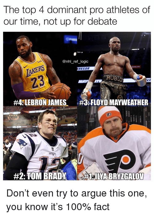 Anaconda, Arguing, and Floyd Mayweather: The top 4 dominant pro athletes of  our time, not up for debate  @nhl_ref_logic  TAKERS  23  REGOR  #4fLEBRON JAMES、  :FLOYD MAYWEATHER  Ep  PA Don't even try to argue this one, you know it's 100% fact