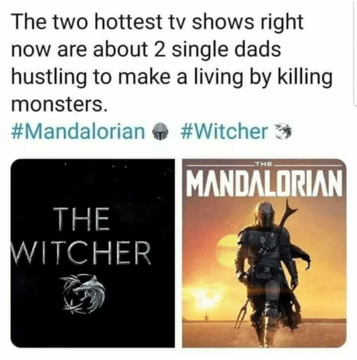/tv/ : The two hottest tv shows right  now are about 2 single dads  hustling to make a living by killing  monsters.  #Witcher 3  #Mandalorian  THE  MANDALORIAN  THE  WITCHER