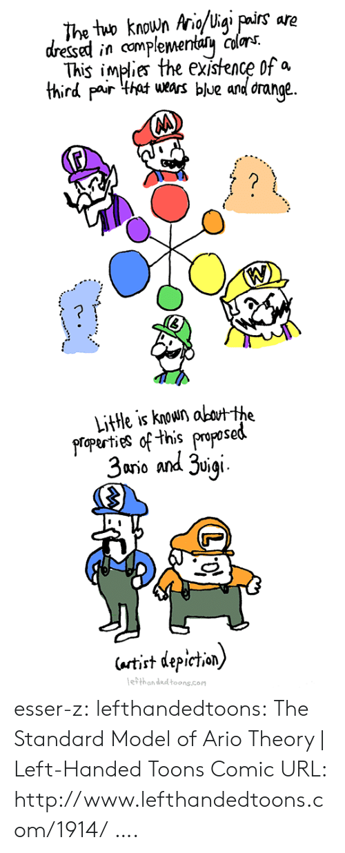 Target, Tumblr, and Blog: The two knoun aigi pairs are  This implies the existence of a  ge.  dressed in complementacoors  third pair thawrs blue and dran  Litte is kow okthe  gropurties of this propesed  3ano and uie  artit depiction)  ethan ded toons.com esser-z: lefthandedtoons: The Standard Model of Ario Theory   Left-Handed Toons Comic URL: http://www.lefthandedtoons.com/1914/   ….