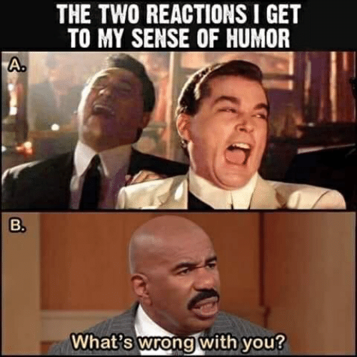 You, Whats, and Humor: THE TWO REACTIONS I GET  TO MY SENSE OF HUMOR  A.  What's wrong with you?  B