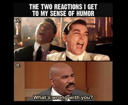 You, Whats, and Humor: THE TWO REACTIONS I GET  TO MY SENSE OF HUMOR  A.  B.  What's wrong with you?