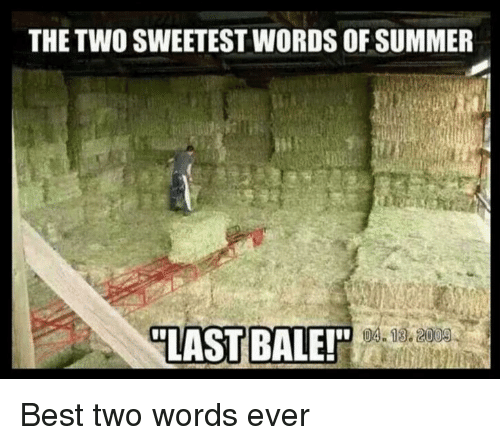 Summer, Best, and Words: THE TWO SWEETEST WORDS OF SUMMER  18.2008  LAST BALES Best two words ever