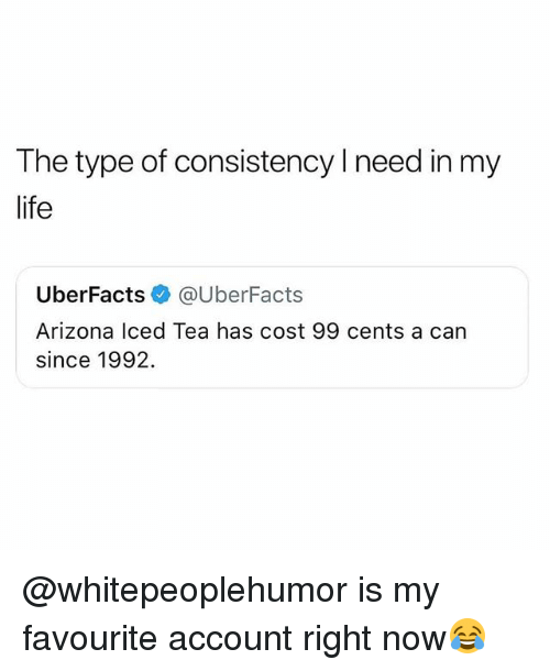 Iced Tea: The type of consistency l need in my  life  UberFacts @UberFacts  Arizona Iced Tea has cost 99 cents a can  since 1992. @whitepeoplehumor is my favourite account right now😂