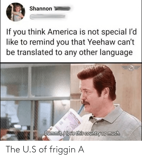U S: The U.S of friggin A