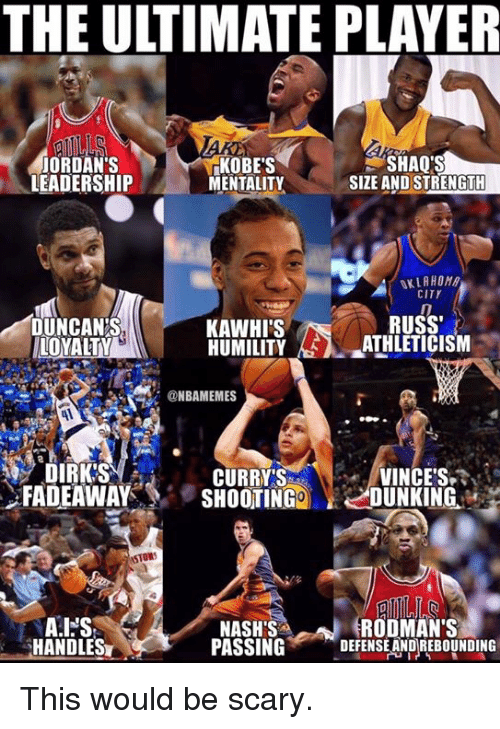 shaqs: THE ULTIMATE PLAYER  JORDAN'S  LEADERSHIP  KOBE'S  MENTALITY  SHAQ'S  SIZE AND STRENGTH  KLAHOM  CITY  RUSS  DUNCAN'S  LOYALTY  KAWHI'S  HUMILITY-EA-JUHLETICISM  @NBAMEMES  VINCE'S.  FADEAWAYSHOOTINGDUNKING  DIRK'S  CURRYS  STOWS  RODMAN'S  HANDLES  NASH'S  PASSINGDEFENSE AND REBOUNDING This would be scary.
