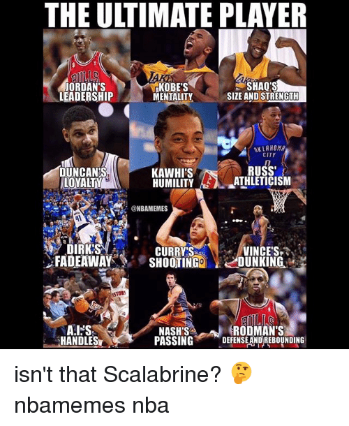 shaqs: THE ULTIMATE PLAYER  JORDAN'S  LEADERSHIP  KOBE'S  MENTALITY  SHAQ'S  SIZE AND STRENGTH  OKLAHOMA  CITY  DUNCAN'S  LOYALTY  RUSS  KAWHI'S  HUMILITY AS λ-_ATHLETICISM  @NBAMEMES  DIRK'S  .FADEAWAY  CURRYVINCE'S  SHOOTING2 LJUNKING.'  STOW  RODMAN'S  HANDLES  NASH'S  PASSINGDEFENSE ANDREBOUNDING isn't that Scalabrine? 🤔 nbamemes nba