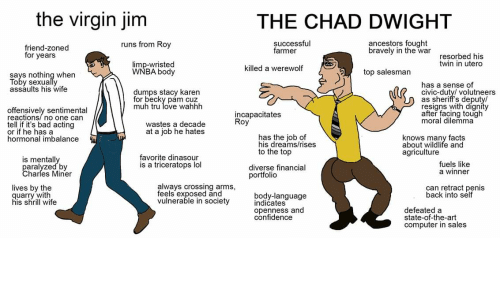 Bad, Confidence, and Facts: the virgin jim  THE CHAD DWIGHT  successful  farmer  ancestors fought  bravely in the war  runs from Roy  friend-zoned  for years  resorbed his  twin in utero  limp-wristed  WNBA body  killed a werewolf  top salesman  says nothing when  Toby sexually  assaults his wife  has a sense of  civic-duty/ volutneers  as sheriff's deputy/  resigns with digníty  after facing tough  moral dilemma  dumps stacy karen  for becky pam cuz  muh tru love wahhh  offensively sentimental  reactions/no one can  tell if it's bad acting  or if he has a  hormonal imbalance  incapacitates  Roy  wastes a decade  at a job he hates  has the job of  his dreams/rises  to the top  knows many facts  about wildlife and  agriculture  favorite dinasour  is a triceratops lol  is mentally  paralyzed by  Charles Miner  fuels like  a winner  diverse financial  portfolio  always crossing arms,  feels exposed and  vulnerable in society  lives by the  can retract penis  back into self  quarry with  his shrill wife  body-language  indicates  openness and  confidence  defeated a  state-of-the-art  computer in sales