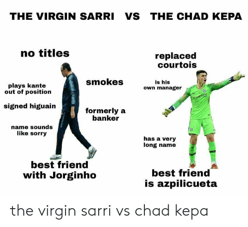Best Friend, Sorry, and Virgin: THE VIRGIN SARRI VS THE CHAD KEPA  no titles  replaced  courtois  plays kante  out of position  smokes  own manager  is his  signed higuain  formerly a  banker  name sounds  like sorry  has a very  long name  best friend  with Jorginho  best friend  is azpilicueta the virgin sarri vs chad kepa