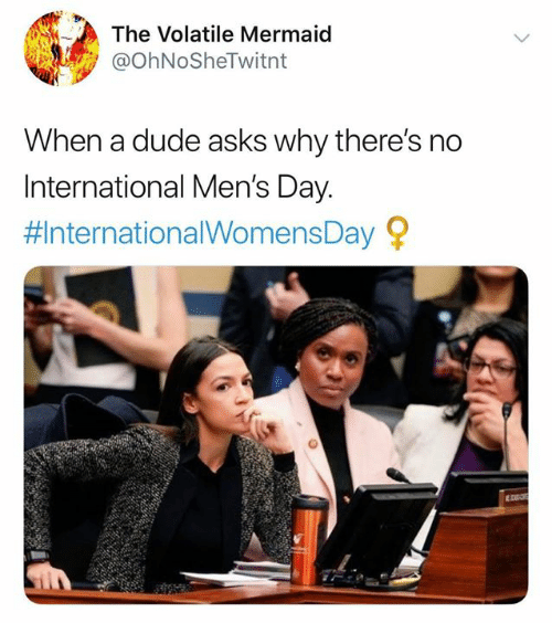 Dude, Memes, and International: The Volatile Mermaid  @ohNoSheTwitnt  When a dude asks why there's no  International Men's Day  #InternationalWomensDay 오