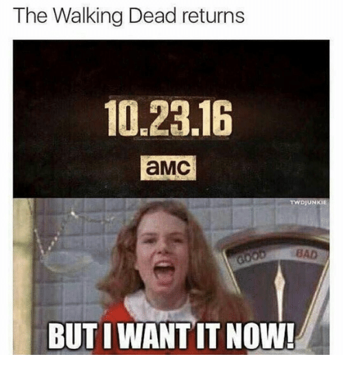 Walking Dead Returns: The Walking Dead returns  10.23.16  aMC  TWDJUNKIE  BUTIWANT IT NOW!