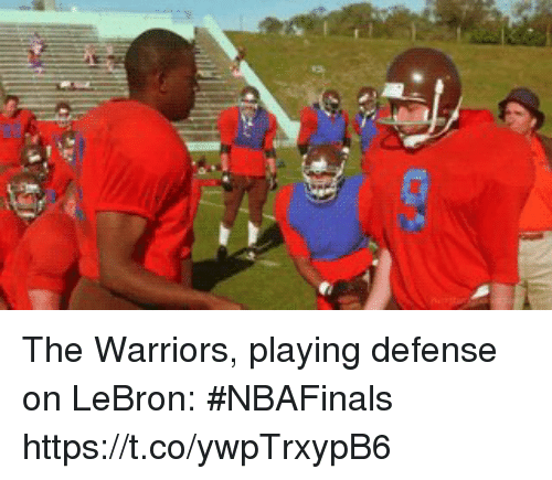 Sports, Lebron, and Warriors: The Warriors, playing defense on LeBron: #NBAFinals https://t.co/ywpTrxypB6