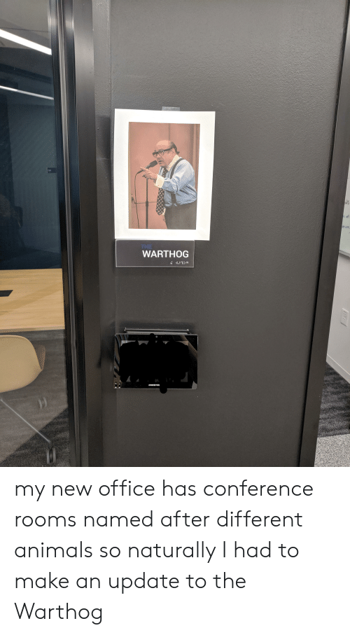 Animals, Office, and Make: THE  WARTHOG  CRESTR my new office has conference rooms named after different animals so naturally I had to make an update to the Warthog