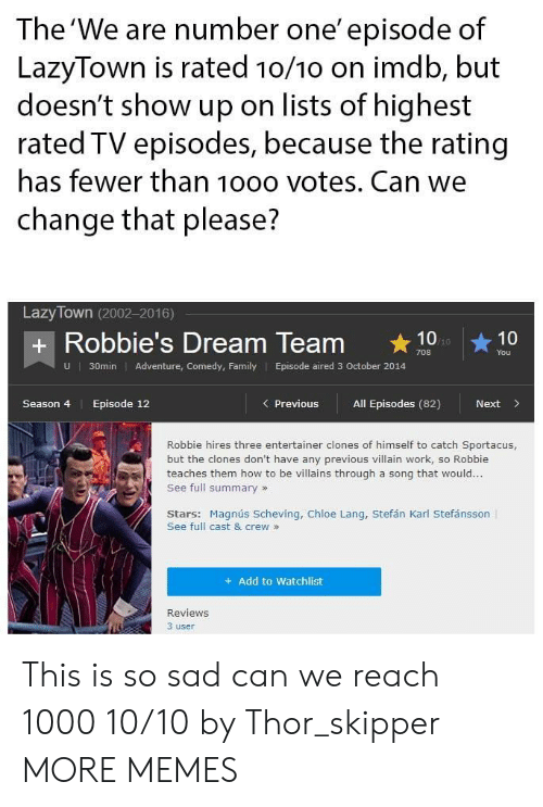 Clones: The 'We are number one' episode of  LazyTown is rated 10/1o on imdb, but  doesn't show up on lists of highest  rated TV episodes, because the rating  has fewer than 10oo votes. Can we  change that please?  Lazy Town (2002-2016)  + Robbie's Dream Team 10  You  U  30min Adventure, Comedy, Family Episode aired 3 October 2014  Season 4  Episode 12  Previous All Episodes (82)  Next>  Robbie hires three entertainer clones of himself to catch Sportacus,  but the clones don't have any previous villain work, so Robbie  teaches them how to be villains through a song that would...  See full summary»  Stars: Magnús Scheving, Chloe Lang, Stefán Karl Stefánsson  See full cast & crew »  + Add to Watchlist  Reviews  3 user This is so sad can we reach 1000 10/10 by Thor_skipper MORE MEMES