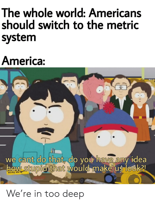 America, World, and Idea: The whole world: Americans  should switch to the metric  system  America:  we cant do that, do you have any idea  aow stupid that would make us look2  Ber  ) We're in too deep