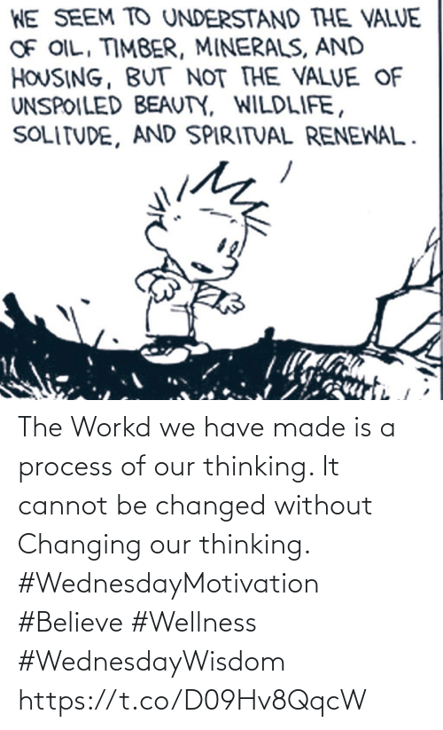 Wellness: The Workd we have made is a process of our thinking.  It cannot be changed without  Changing our thinking.  #WednesdayMotivation #Believe #Wellness #WednesdayWisdom https://t.co/D09Hv8QqcW