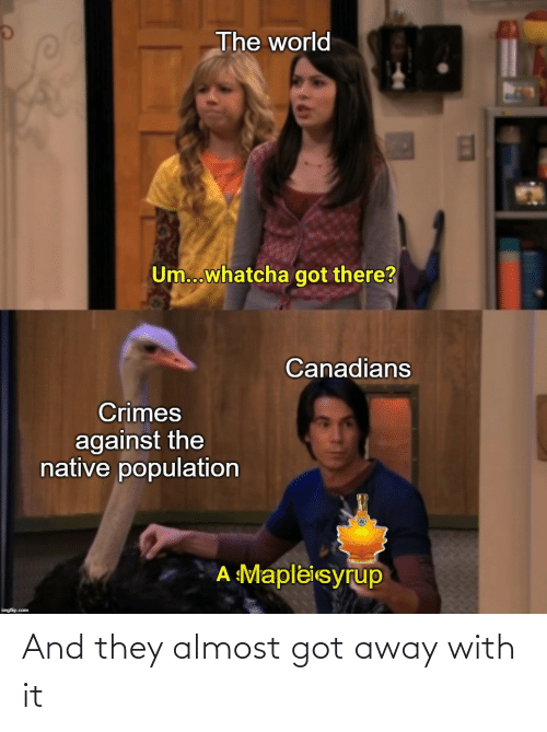 Imgflip Com: The world  Um...whatcha got there?  Canadians  Crimes  against the  native population  A Mapleisyrup  imgflip.com And they almost got away with it
